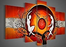 Wieco Art - Red Sun Tree Dancers Modern 100% Hand Painted Artwork Abstract Oil Paintings on Canvas Wall Art Décor for Living Room Bedroom Home Decorations
