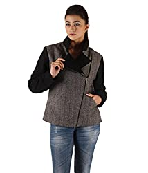 Owncraft Women's Woolen Jacket (Own_232_Black_X-Large)