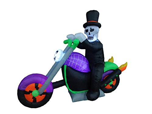 6 Foot Long Halloween Inflatable Skeleton Riding on Motorcycle Party Yard Decoration