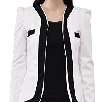 Zacoo Women's Collarless Cotton Blended Blazer Size S Color white