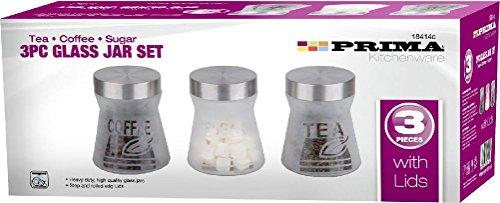 Fun Daisy 3pc Stainless Steel Tea Coffee Sugar Retro Kitchen Glass Jar Canister Storage