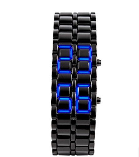 Domire Boy Blue Light Black Metal Strap Lava Style Digital Led Watch front-800922