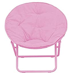 American Kids Solid Faux-Fur Saucer Chair, Polyester Fabric Content, (Pink)