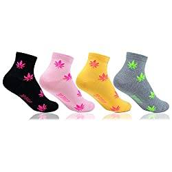 Bonjour Girls Bold Multicolour Unique Design 4 Pairs Cotton Socks_BRO1507-PO4