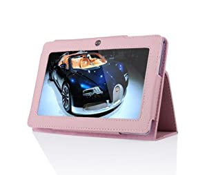 Eforcase Slim Fit Folio Stand PU Leather Case Cover for 7 Inch Android Tablet(Q88) - More Color Options (Pink) from Eforcase