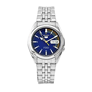 Click to buy Seiko Watches for Men: SNK371K Seiko 5 Automatic Blue Dial Stainless Steel Watch from Amazon!