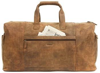 LEABAGS SYDNEY Vintage Genuine Leather Weekender Holdall Sports Bag