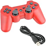 For Sony Playstation 3 Ps3 Bluetooth 6 Axis Wireless Controller Gamepad Joypad Dualshock with Charging Cable 11 Colors Available (Red)