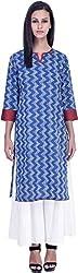 Vedanta Women's Regular Fit Cotton Kurta (KACTNPRNT115_BLUE_L, Blue, Large)