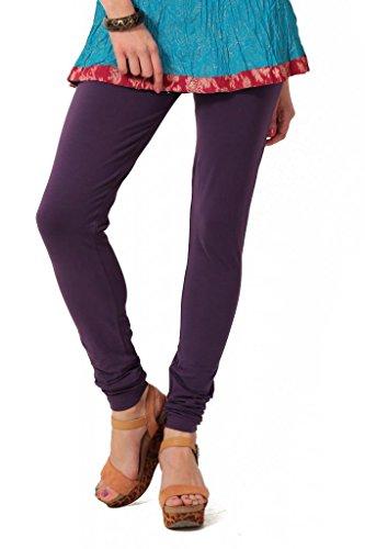 Women's solid Purple Cotton-Lycra Leggings/Churidars