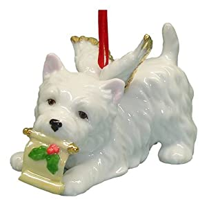 Cute Christmas Holiday West Highland Terrier Dog Ornament Figurine