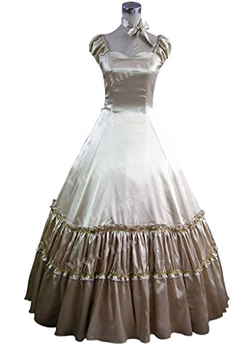 Romantic Southern Belle Civil War Vintage Gothic Lolita Satin Gown Dress Prom