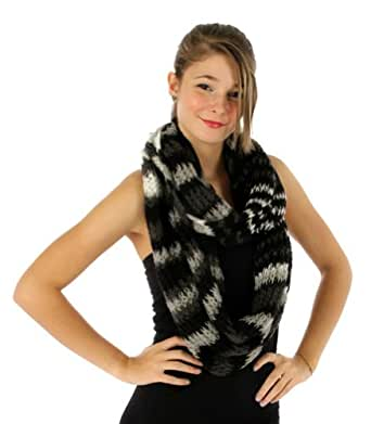 Fashionable Loose Knit Infinity Scarf (Black)