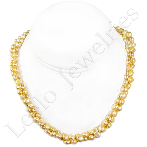 2 Strands Fresh Water Pearl Necklace - approx. 18 inches (Light Yellow)