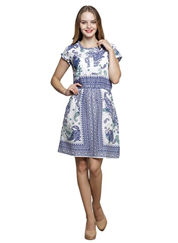 LEBE-Womens-Blue-A-line-Dress