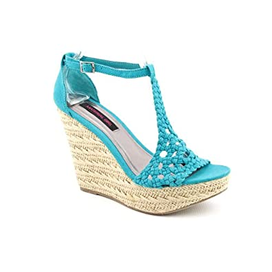 Amazon.com: Material Girl Razzle Womens Size 7.5 Blue Fabric Wedge