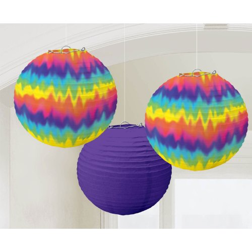 Amscan Feeling Groovy 60's Psychedelic Round Printed Lanterns Decoration (3 Piece), Purple/Rainbow, 12 x 11