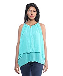 Avakasa Polyester Blue Solids Partywear Sleeveless Sleeves Top (top-29-blue)