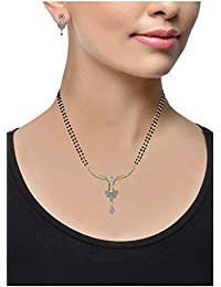 YouBella Women's Pride American Diamond Gold Plated Mangalsutra Pendant With Chain And Earrings For Women - B01BQ3P8PQ