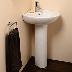 Modern Bathroom Compact Corner Hand Wash Basin - Full Pedestal, 1 Tap ...