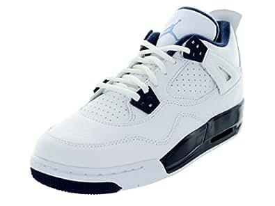 Nike Kids Youth Air Jordan 4 Retro BG White/Navy/Blue 408452-107 (SIZE: 3.5Y)