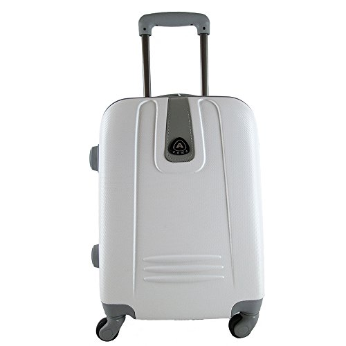 TROLLEY CABINA BAGAGLIO A MANO RYANAIR EASY JET VALIGIA 4 RUOTE LOW COST (BIANCO)