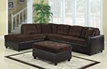 Big Sale Coaster Reversible Chocolate Soft Corduroy Two-Tone Sectional