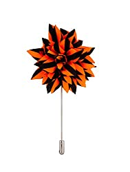 Avaron Projekt Handmade Orange & Black Striped Flower Lapel Pin /Brooch For Men