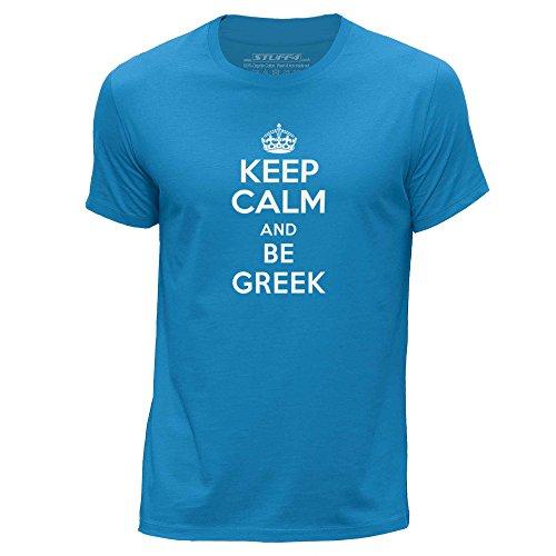 STUFF4-HombresPequea-SAzulCuello-redondo-de-la-camisetaKeep-Calm-Be-Greek