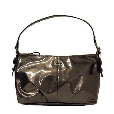 Coach   Coach Madison Patent Leather Demi Shoulder Bag Purse Tote 46619 Pewter