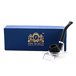 Pipe World Stylish Black color Pipe for Tobacco Smoking with Stand