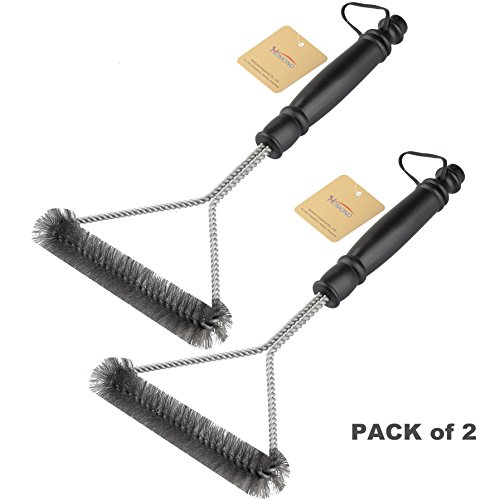 Great Deal! Homono 12-Inch 3-Sided Grill Brush (Pack of 2)