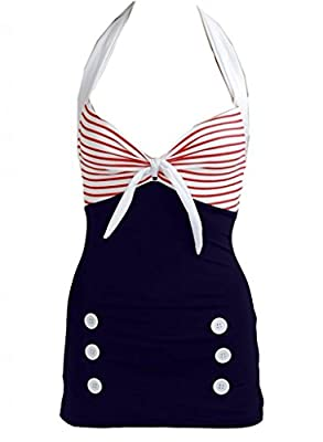 Pinupclothingonline Women's Stripe Retro Sailor Nautical Bathing Suit