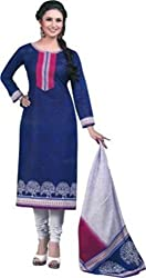 Women`s Blue Cotton Printed Dress Material