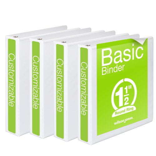 Wilson Jones Round Ring View Binder, 1.5 Inch, Basic, 362 Series, Customizable, White, 4 Pack (W70362-34WPP)