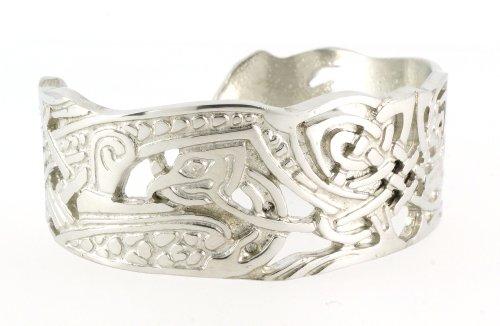 Handmade Celtic Butterfly Interlace Silver Shine Pewter Bangle (Adjustable)