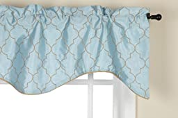Stylemaster Hudson 52 by 17-Inch Embroidered Lined Valance with Cording, Spa