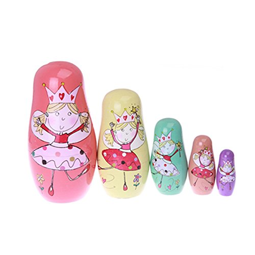 Zuiniubi Big Size Russian Nesting Dolls 5 Layers Colorful Wooden Dolls Happy Dancing Princess Glaze Dolls Home Decoration Handmade Wooden Toys Crafts Matryoshka Doll Kids Gift