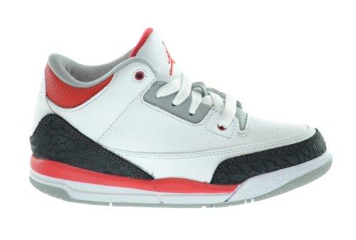 Jordan 3 Retro Little Kids Basketball Shoes White/Fire Red-S