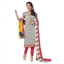 Pavani Women's Cotton Semi Stitched Dress Material (D1500067_Grey_Free Size)