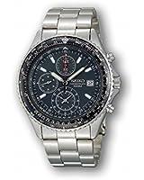 Seiko Men's Tachymeter SND253 Silver Stainless-Steel Quartz Watch with Black Dial