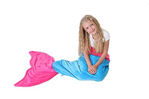 Meerjungfrauenschwanz Decke - Super Weich & Warm polares Vliesgewebe Decke von Cuddly Blankets - Perfektes Geschenk für Kinder und Jugendliche (3-12 Jahre) (Meerblau & Dunkel Rosa) thumbnail