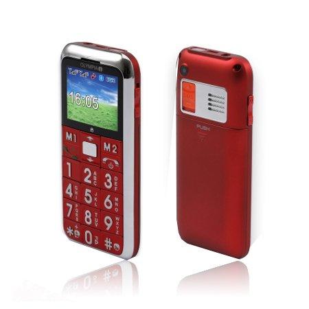 Olympia Chic Seniorenhandy - rot - Großtasten Telefon SOS Knopf ohne SIM LOCK mit Kamera