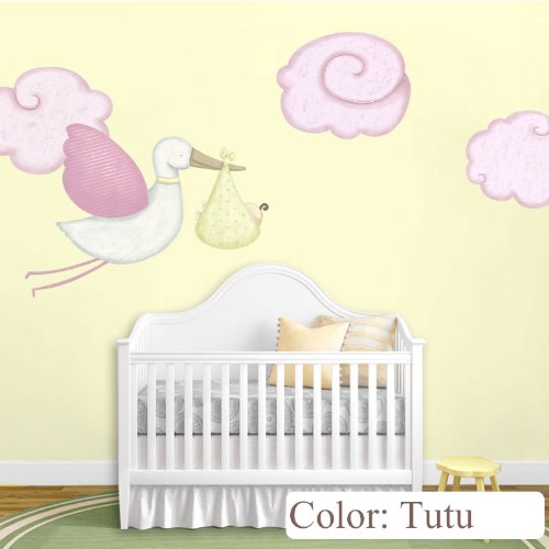 Flying Stork Decal And Cloud Wall Stickers For Baby Nursery (Tutu) front-1073325