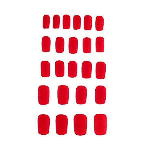 [Doubtless Bay 24 Pcs False Fake French Plush Material Nail Art Manicure Full Tips (Red)] (Red Fake Nails)