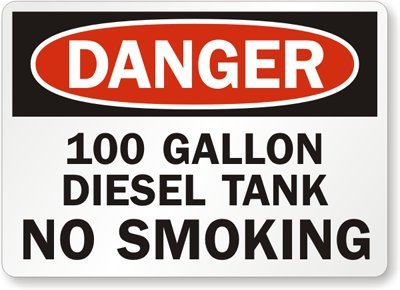 """100 Gallon Diesel Tank No Smoking, Adhesive Signs And Labels, 5 Labels / Pack, 5"""" X 3.5"""""""