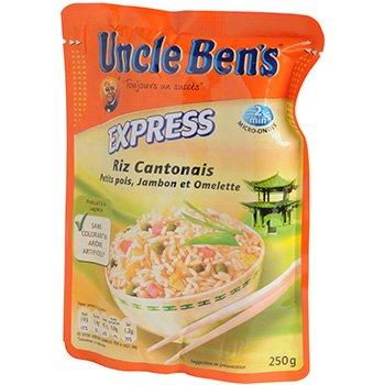 Riz express 2mns Uncle Ben's Cantonais 250g;riz Cantonais petits pois jambon et omelette