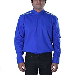 Riverbero Men's Casual Shirt (SN_DFS_222_Blue_42)