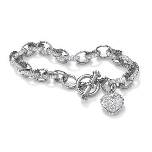 Platinum Over Sterling Silver Diamond Accent Heart Charm Bracelet