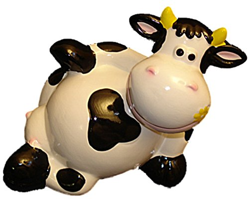 White Cow Laying on Back Kids Piggy Bank Hand Painted
